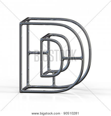 3D alphabet, metal letter D isolated on white background