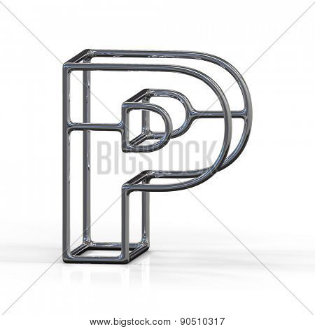 3D alphabet, metal letter P isolated on white background