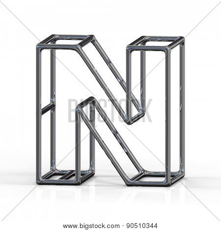 3D alphabet, metal letter N isolated on white background