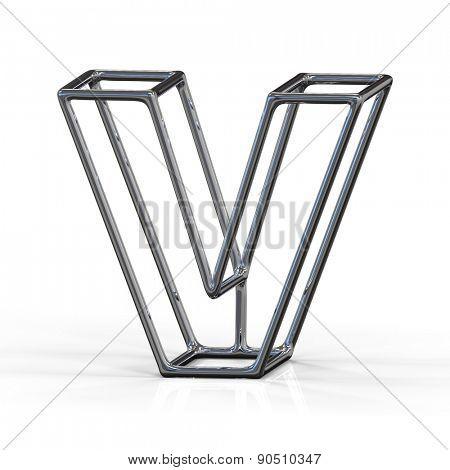 3D alphabet, metal letter V isolated on white background