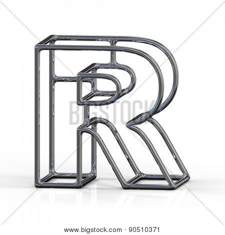 3D alphabet, metal letter R isolated on white background