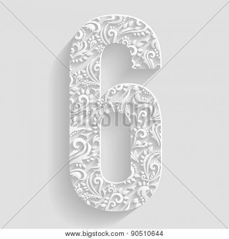 Number 6. Vector Floral Invitation cards Decorative Font