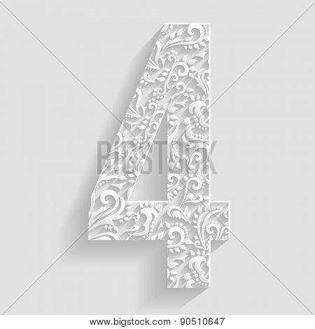 Number 4. Vector Floral Invitation cards Decorative Font