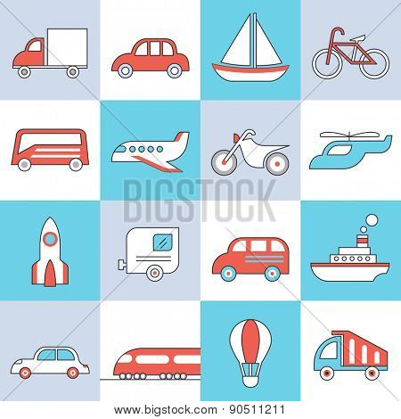 Transport icons, flat design, thin lines and light color style