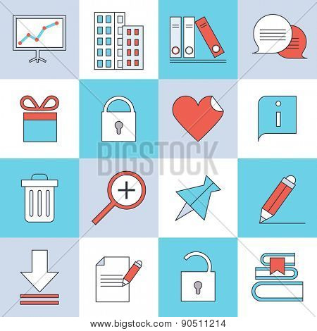 Office icons, flat design, thin lines and light color style