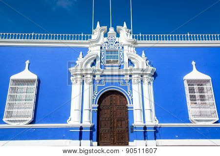 Blue Colonial Building In Peru