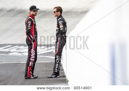 Bristol, TN - Apr 17, 2015:  Kurt Busch (41) and Kasey Kahne (5) talk before qualifying for the Food City 500 at Bristol Motor Speedway in Bristol, TN.