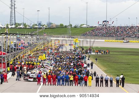 Kansas City, KS - May 09, 2015:  The NASCAR Sprint Cup Series teams take to the track for the Spongebob SquarePants 400 at Kansas Speedway in Kansas City, KS.