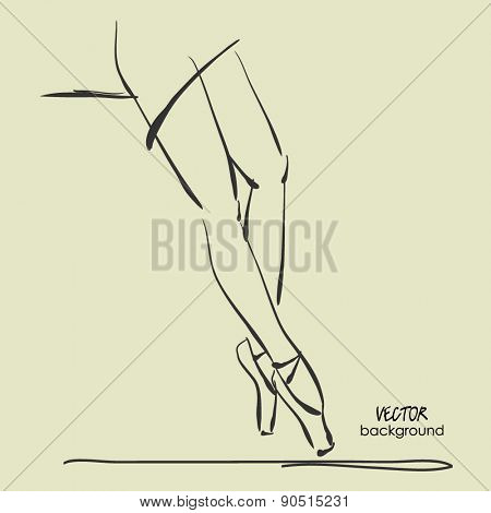 art sketched leg of resting and sitting beautiful young ballerina in tights. Vector illustration