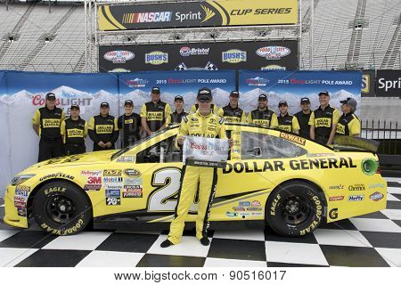 Bristol, TN - Apr 17, 2015:  Matt Kenseth (20) wins the pole for the Food City 500 at Bristol Motor Speedway in Bristol, TN.