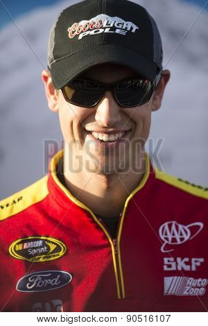 Richmond, VA - Apr 24, 2015:  Joey Logano (22) wins the pole for the ToyotaCare 250 race at the Richmond International Raceway in Richmond, VA.