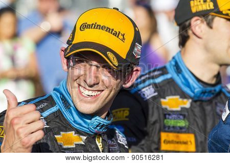Long Beach, CA - Apr 18, 2015:  Ricky and Jordan Taylor are all smile after winning the Tequila Patron Sports Car Racing Showcase at Long Beach Grand Prix in Long Beach, CA.