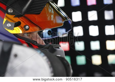 Bristol, TN - Apr 17, 2015:  Denny Hamlin (11) straps into his car for the Food City 500 at Bristol Motor Speedway in Bristol, TN.