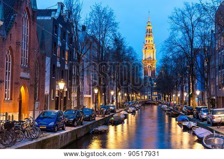 South Church Zuiderkerk and Amsterdam Canals at dusk Natherland