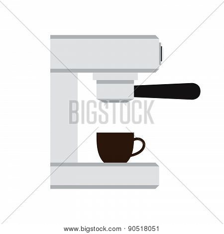 Coffee Machine With Cup In Love Heart Vector Illustration