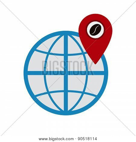 Coffee World Pin Coordinate Location Vector Illustration