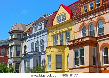 Row houses on a sunny spring day in Washington DC USA.