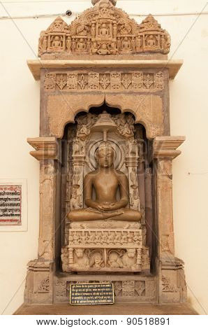 Stone Carved Sculpture On Shantinath Temple. Jain Temples Of Khajuraho