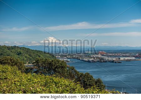 Port Of Tacoma And Mountain