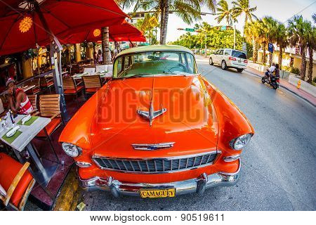 Old Car Parked On Ocean Drive, Miami Beach