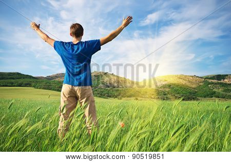 Man in green wheat meadow. Conceptual design.