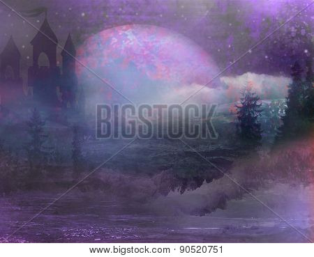 Abstract Landscape With Old Castle And Moon