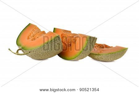 Ripe Orange Melon With Stem On White Background