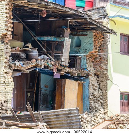 KATHMANDU, NEPAL - MAY 13, 2015: A damaged house after a 7.3 earthquake hit Nepal on May 12, 2015.