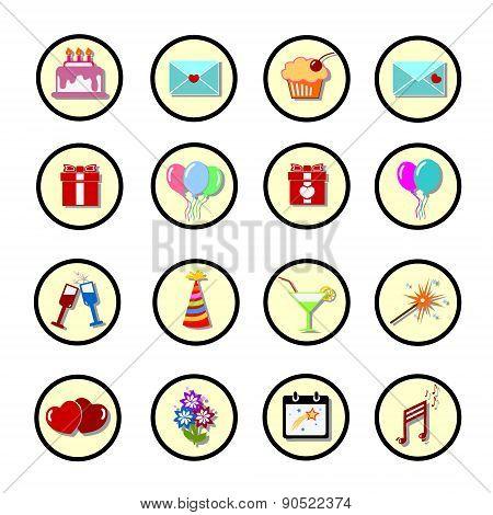 Set Of Celebratory Icons, Symbols.