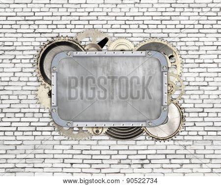 Vintage industrial mechanical frame on wall background