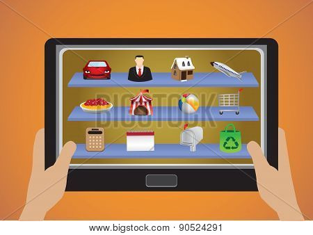 Hand Holding Touchscreen Tablet With App Icons Vector Illustration