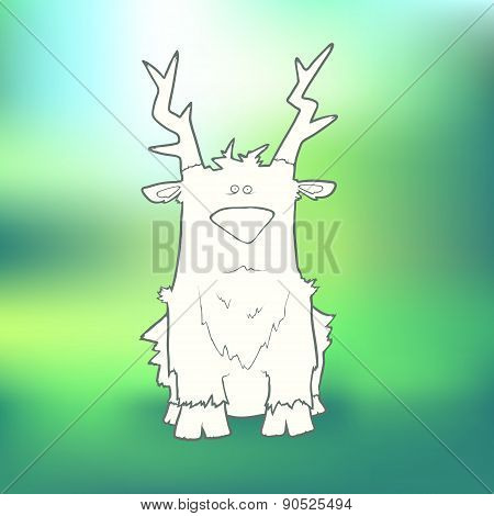 Vector Illustration Hand-drawn sitting sad deer on blurred green background