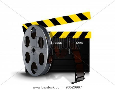 Film Reel Roll With Clapperboard