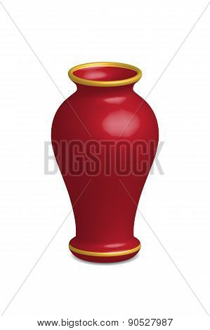 Illustration Of Empty Flower Vase, Vector Isolated On White Background