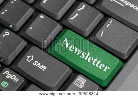 Green newsletter key on keyboard