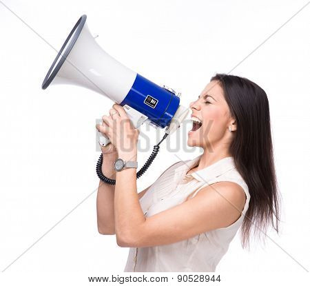 Businesswoman shouting in loudspeaker isolated on a white background