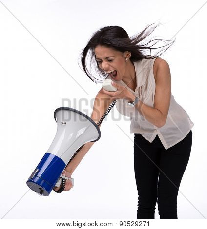 Businesswoman shouting at herself with megaphone isolated on a white background