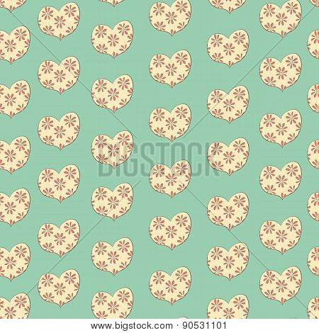 hearts in a floret seamless valentines pattern