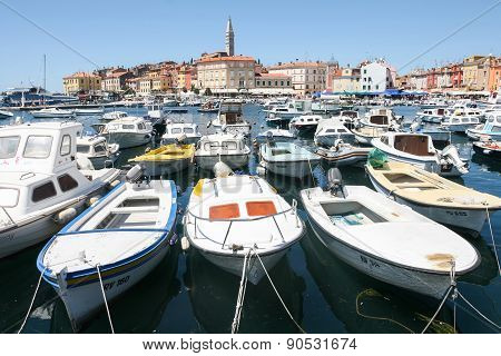 Large Group Of Boats Moored In Rovinj