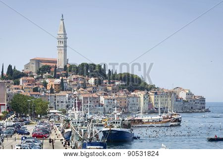 Old City Core And Harbour In Rovinj