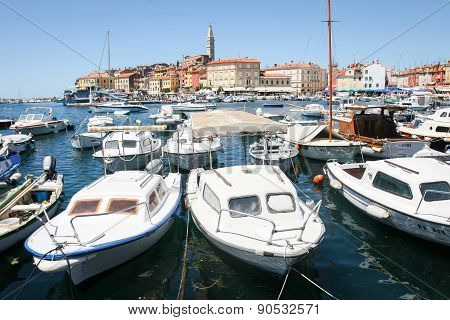 Boats Moored In Marina Of Rovinj