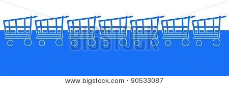 Blue Horizontal Background With Shopping Carts