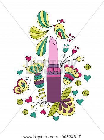 womens lipstick with flowers and bird