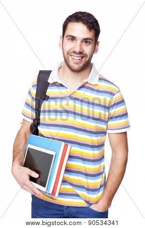 Portrait of a smiling young student, isolated on white background