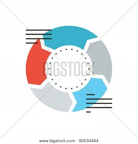 Business Diagram Flat Line Icon Concept