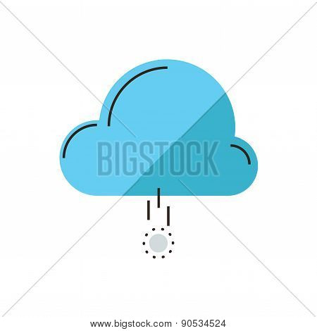 Cloud Funding Flat Line Icon Concept