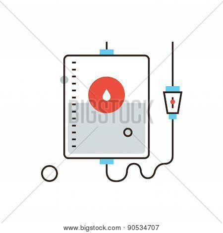 Blood Donation Flat Line Icon Concept
