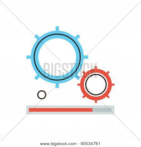 Gearing Process Flat Line Icon Concept