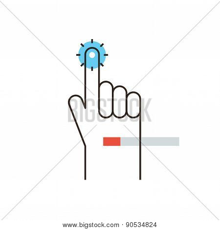 Hand Touch Flat Line Icon Concept