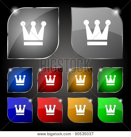 King, Crown Icon Sign. Set Of Ten Colorful Buttons With Glare. Vector